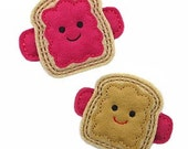 Peanut Butter and Jelly Felt Hair clips   (listing is for a PAIR of hair clips)