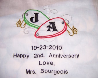 Fishing Lure Accent Design, Acorns, Wedding Rings and Chamgane Glasses  --  Wedding Hankie Designs