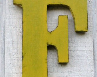"""Rustic 12"""" Tall Wood Letter F Baby Nursery Decor  Kids Room Decoration Wooden Letters  Any Letter"""