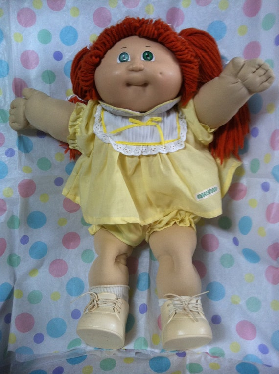 Vintage Cabbage Patch Kid Girl Redhead Hair Green Eyes