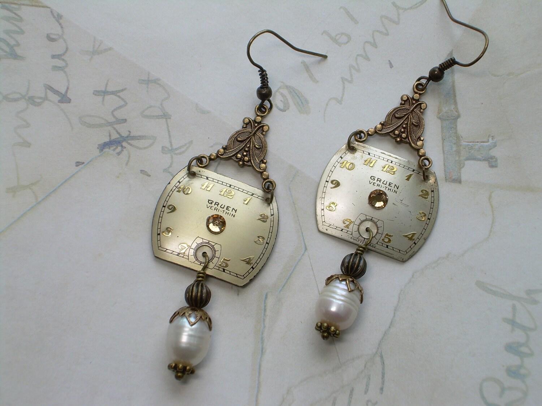 Sale Vintage Gruen Watch Face Earrings Fresh By