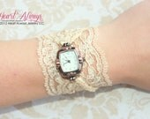 Champagne Lace Watch with Antique Copper Watch Face