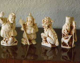 Vintage Set of 4 Faux Ivory Chinese Figures Beautiful Collectibles 3 inches tall