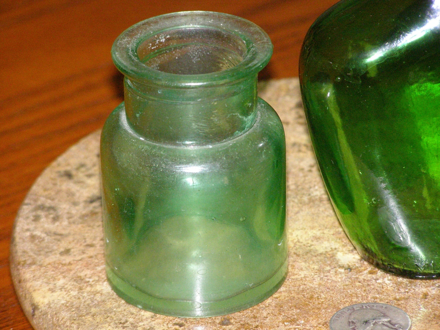 Vintage glass bottles 2 green in used condition for your for Uses for old glass bottles