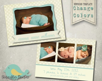 Vintage Baby Announcement PHOTOSHOP TEMPLATE - Baby Girl Mint