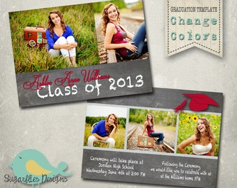 Graduation Announcement PHOTOSHOP TEMPLATE -  Senior Graduation 16