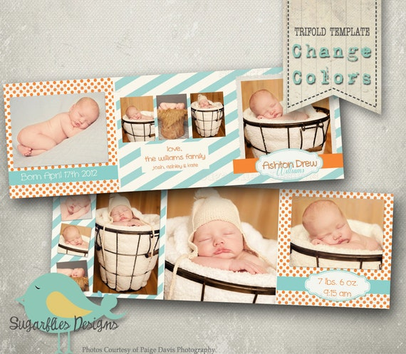 Baby Boy Announcement Templates - Baby Boy Trifold 1