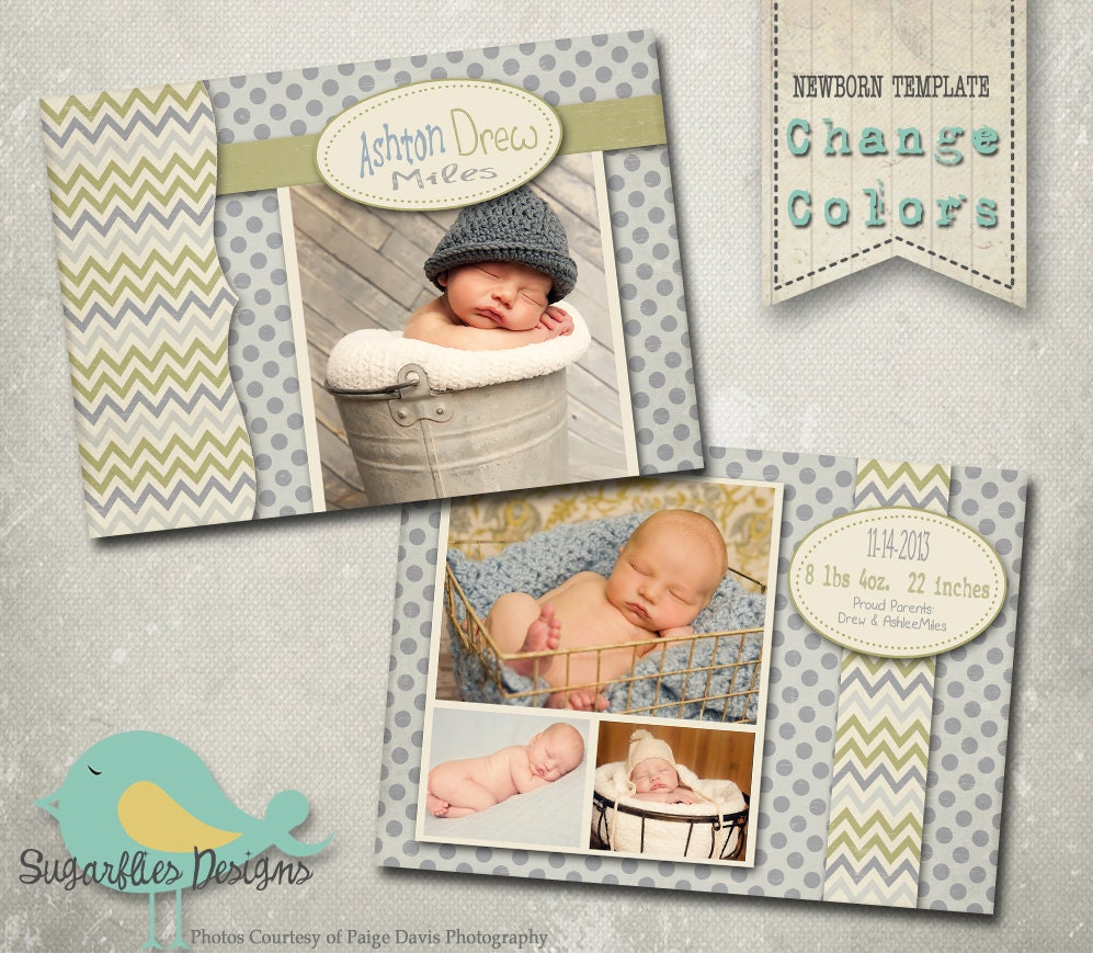 Baby Birth Announcement PHOTOSHOP TEMPLATE Baby Boy – Baby Announcement Template Free