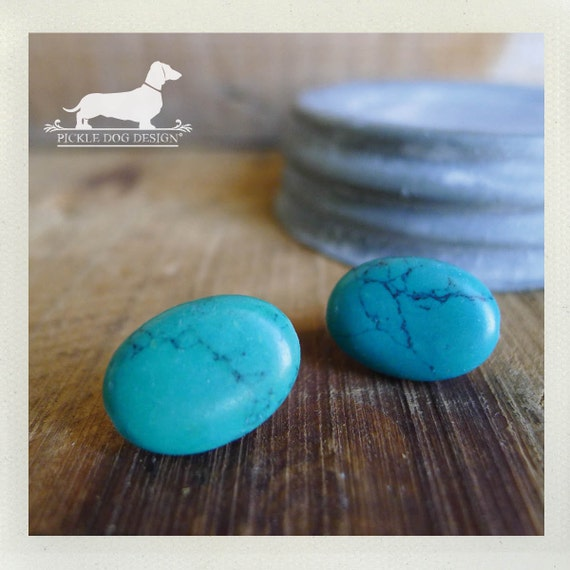 Tickled Turquoise. Post Earrings -- (Vintage-Style, Teal, Blue, Oval, Egg, Simple, Classic, Marble, Gift For Her Under 10)