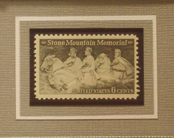Vintage Framed Postage Stamp - Stone Mountain Memorial - Version A - No. 1408