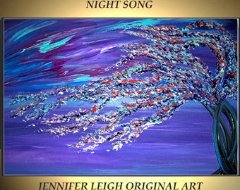 Original Large Abstract Painting Modern Contemporary Canvas Art Night Song Purple Black Blue 36x24 Tree Palette Knife Texture Oil J.LEIGH