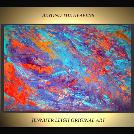 Original Large Abstract Painting Modern Contemporary Canvas Art Blue Orange Beyond The Heavens 36x24 Palette Knife Texture Oil J.LEIGH