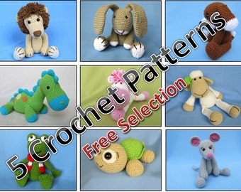 Package of 5 Crochet Patterns / PDF e-Book / Amigurumi Tutorials