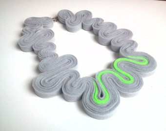 Eco-friendly Felt Necklace Felted Jewelry Statement Necklace In Neon Green