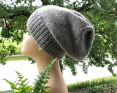 Grey Gray Oversized Knitted Slouchy Beanie Hat Mens Hat Custom Order