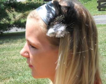 "The ""Zippy Zebra"" Headband with Feather Clips, Ready to Ship"