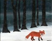Red Fox Painting Original Wildlife Acrylic 8x10