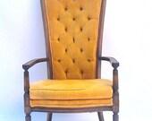 Hollywood Regency MAD MEN Hi Back Velvet Chair Mustard Gold Yellow