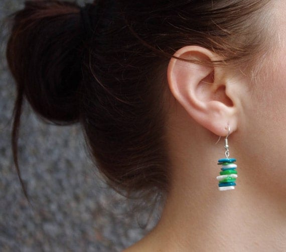 Nacre & Shell Earrings in Green, Blue and White
