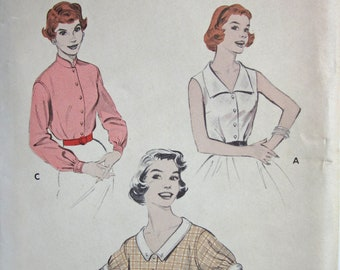 Vintage 1950s Sewing Pattern Butterick 7256  UNCUT Blouse with Sleeve and collar variations Size 16 Bust 34