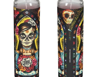 "Mexican Day of the Dead Candle - ""Muerta"""