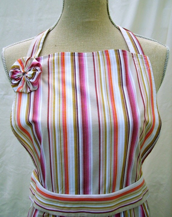 Upcycled Womens' Apron, Multicolored, Orange/White/Tan/Pink/Green Striped, Made from Men's Dress Shirt