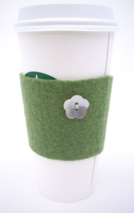 Coffee Cup Cozy - Green Felted Wool - St. Patrick's Day - Slip On Reusable Sleeve, Recycled, Upcycled - Repurposed Wool