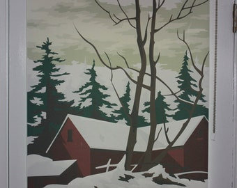"""Paint by Number Winter Scene Graphic Window Shade 38.25''- 41"""" width"""