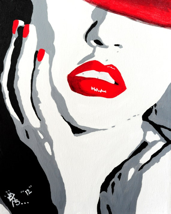 Items similar to pop art red lips painting original acrylic on canvas on etsy
