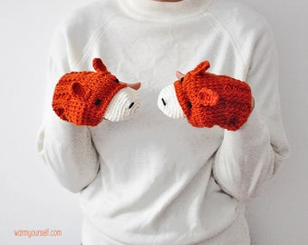 FOX FINGERLESS GLOVES Mittens Gift Wool Crochet Winter Woman Girl TeensCozy Ginger Red Forest Animals Woodland