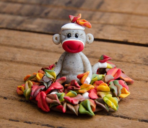 Autumn Leaf Pile Sock Monkey, Polymer Clay by Creative Contours