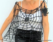 Gothic Halloween Clothing Spider Web Top Transformer One Size