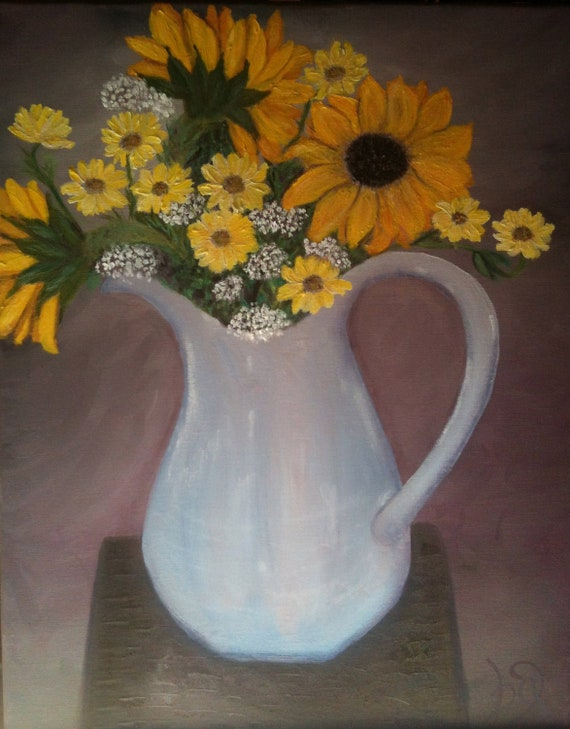 """Floral Painting, Wall Art, Country Art, Original Oil Still Life """"Just Because"""""""