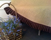 """90"""" Round Burlap Round Table Cloth With a Pleated Chocolate Brown Linen Ruffle"""