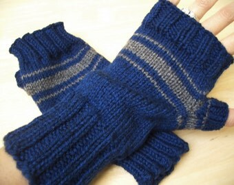 striped wrist warmers, fingerless mittens, acrylic
