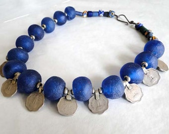 SALE, Ocean blue and silver statment necklace, ethnographic, recycled glass, handmade, vintage coins from India - PachamamaLove