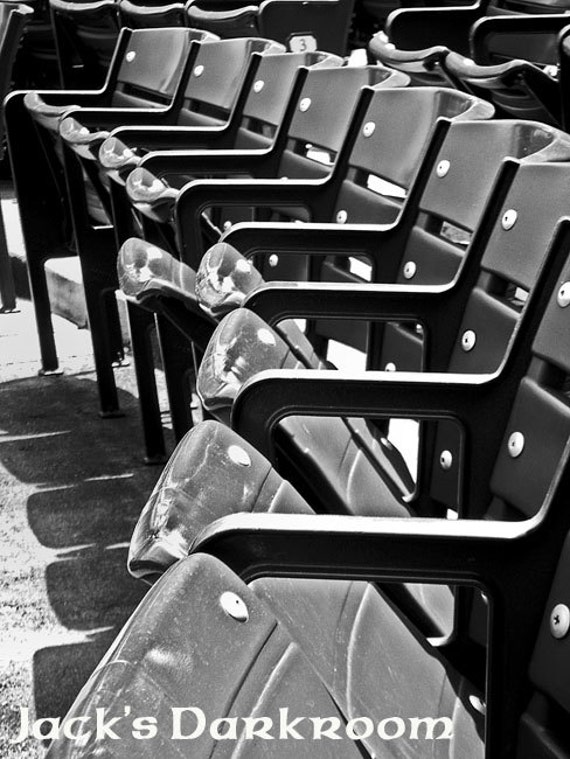 20% OFF!!!  Enter code:  Cubbies   Industrial Abstract--A Deserted Row of Seats Behind Home Plate of Wrigley Field.