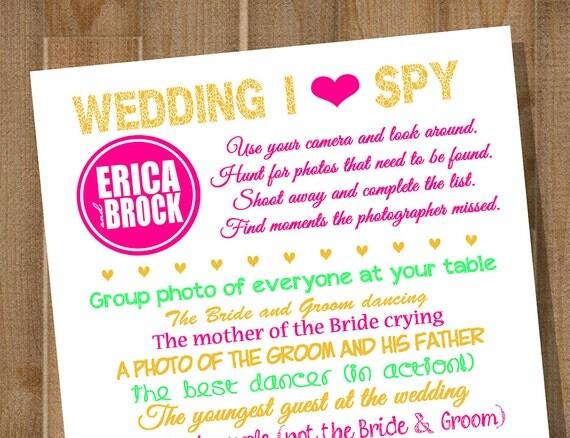 items similar to wedding i spy printable wedding reception game