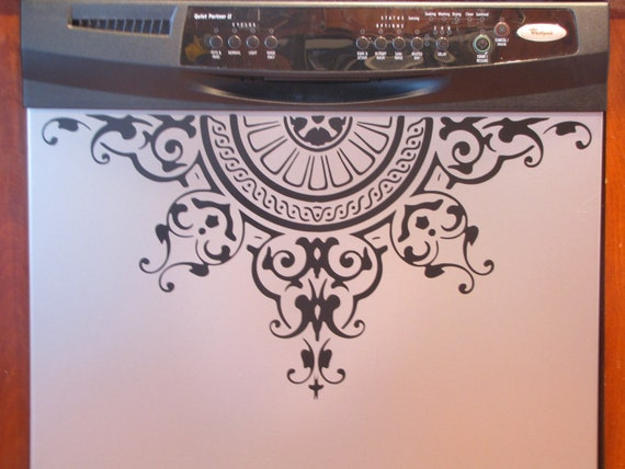 Appliance Decal-Greek Revival, Roman Inspired Medallion, Dishwasher decal, Vinyl Decal, Kitchen Decal Decor