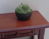 Dollhouse Miniature Brown Bowl full of Greenery