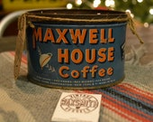 Large Soy Candle in vintage Maxwell House Coffee tin.  Irish Coffee scent. Great Gift Idea.