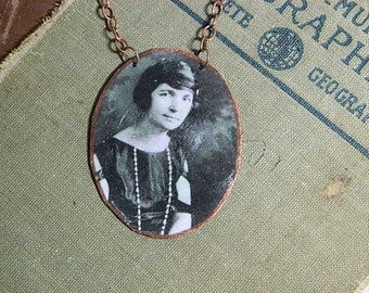 Margaret Sanger necklace mixed media jewelry No Gods No Masters feminist feminism
