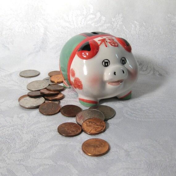 Porcelain Piggy Bank Ceramic Pig Asian V2012102
