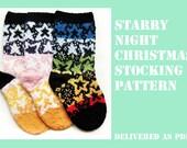 Starry Night Christmas stockings pattern PDF knitting christmas decoration
