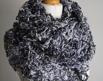 Ivory, grey, black sewn (crazy wool technique) scarf. FREE UK SHIPPING