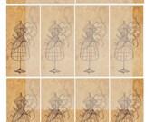 Dress Form Sewing Digital Collage Sheet Hang Tags