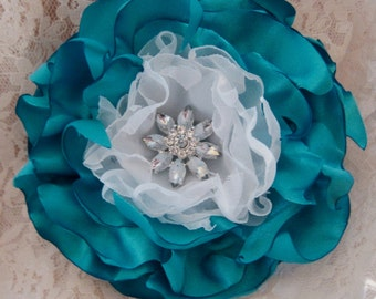 Sale.....Blue Turquoise Bridal Wedding Flower Hair Clip Bridesmaids Mother of the Bride Prom with  Rhinestone Accent