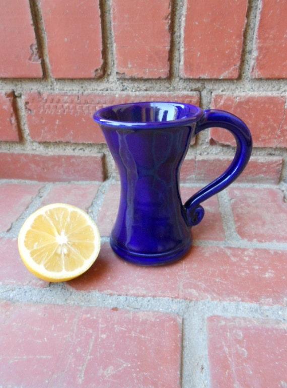 Cobalt Blue Hourglass Mug with Handle