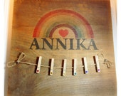 Barn Board Primitive PERSONALIZED RAINBOW Sign with Clothespins
