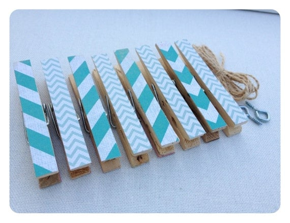 Clothespin Clothesline Photo Hanging Kit Teal Tiffany Inspired Blue Chevron